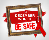 Мир 1-ое декабря БЕЗОПАСЕН, концепция Международного дня СПИДА с красной лентой Стоковая Фотография RF