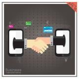 Мир партнерства человеческой черни рукопожатия установленный онлайн Стоковые Изображения