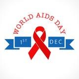 Мир помогает плакату дня осведомленности с лентой помощи красного цвета Стоковые Изображения
