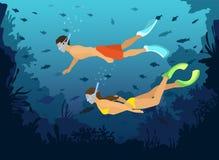 Мир подныривания человека и женщины snorkeling исследуя подводный с рыбами, кораллами, рифами бесплатная иллюстрация