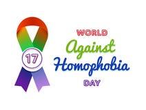 Мир против эмблемы приветствию дня гомофобии Стоковая Фотография RF