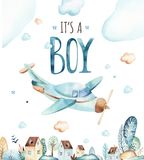 Мир ребёнков Иллюстрация акварели самолета и фуры шаржа локомотивная Комплект дня рождения ребенка самолета, и воздуха иллюстрация вектора
