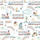 Мир ребёнков Картина иллюстрации акварели самолета, самолета и фуры шаржа локомотивная Ребенок забавляется день рождения иллюстрация вектора