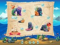 Мир рыб - уровни экрана примера иллюстрации, интерфейс игры Стоковые Изображения