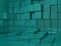 мир съемки зеленого цвета кубика предпосылки 3d средний Стоковые Фото