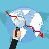 мир умозрения изображения схематической экономии кризиса гловальный Стоковое Изображение RF