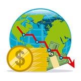 мир умозрения изображения схематической экономии кризиса гловальный Стоковое Фото