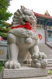Мир шагать льва как каменная статуя на переднем китайском виске Стоковое Изображение
