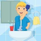 Иллюстрация вектора волос мальчика чистя щеткой Стоковая Фотография RF