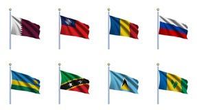 мир 19 флагов установленный Стоковое фото RF
