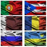 мир 31 флага ткани собрания Стоковое Изображение RF