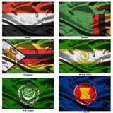 мир 43 флагов ткани собрания Стоковые Фото