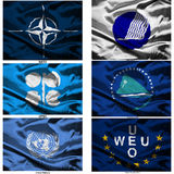 мир 45 флагов ткани собрания Стоковые Фотографии RF