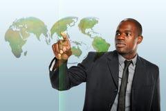 мир hologram бизнесмена касающий стоковая фотография rf