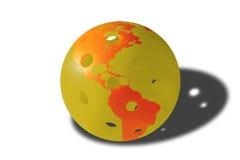 Мир Pickleball - шарик в апельсине и желтом цвете Стоковая Фотография