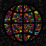 мир social средств иконы Стоковое Изображение RF