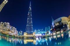 мир UAE башни khalifa Дубай burj самый высокорослый Дубай в ноче лета Стоковая Фотография