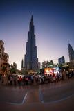 мир UAE башни khalifa Дубай burj самый высокорослый Дубай в ноче лета Стоковое фото RF