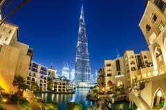 мир UAE башни khalifa Дубай burj самый высокорослый Дубай в ноче лета Стоковое Изображение