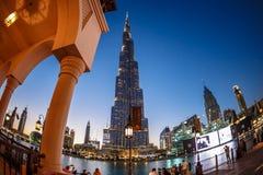 мир UAE башни khalifa Дубай burj самый высокорослый Дубай в ноче лета Стоковые Изображения