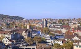 мир zurich башни st peter s стороны часов городского пейзажа города церков самый большой швейцарский Стоковое фото RF