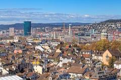 мир zurich башни st peter s стороны часов городского пейзажа города церков самый большой швейцарский Стоковые Фото