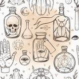 Мистик, волшебство, предпосылка Вероисповедание и оккультизм с esote иллюстрация штока