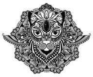 Мистик кота и татуировка мандалы Черный цвет в белой предпосылке Декоративный графический чертеж Изолированный знак дизайна иллюстрация штока