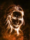 Мистическая женщина с орнаментом на стороне Чертеж карандаша на старой бумаге Стоковое Изображение RF