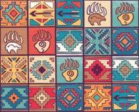 Мистическая и духовная безшовная картина со стрелками, животными следами и геометрическими элементами в племенном стиле иллюстрация штока