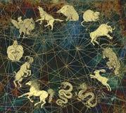 Мистическая предпосылка с китайскими животными и copyspace зодиака иллюстрация штока