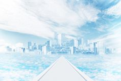 Мистический город в небе среди облаков стоковые изображения