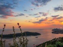 мистический заход солнца Стоковые Фото