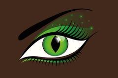Мистический зеленый глаз на темной предпосылке иллюстрация штока