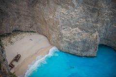 Мистический пляж Navagio, Закинф, Греция Стоковая Фотография RF