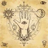 Мистический чертеж: божественная рука, всевидящее око, круг фазы луны иллюстрация вектора