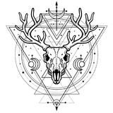 Мистическое изображение черепа horned олень, священная геометрия, символы луны иллюстрация вектора