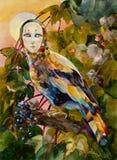 Мифическая птица с женской стороной на illus акварели леса захода солнца Стоковая Фотография RF