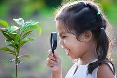 Милая азиатская девушка маленького ребенка смотря через лупу Стоковые Фотографии RF