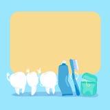 Милая афиша владением зуба шаржа Стоковое Изображение RF