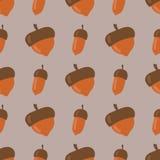 Милая безшовная картина сделанная коричневой иллюстрации вектора дизайна леса сезона падения природы осени предпосылки жолудей бесплатная иллюстрация