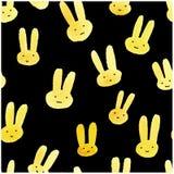 Милая безшовная картина с кроликами акварели Стоковое Фото