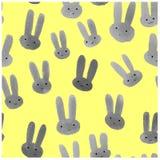 Милая безшовная картина с кроликами акварели Стоковое Изображение RF