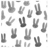 Милая безшовная картина с кроликами акварели Стоковая Фотография RF