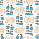 Милая безшовная картина с нарисованными рукой схематичными кофейными чашками чая и, сердцами и литерностью доброго утра Стоковое Фото