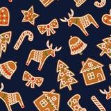 Милая безшовная картина с печеньями пряника рождества - дерево xmas, тросточка конфеты, колокол, носок, звезда, дом, смычок, серд Стоковое фото RF