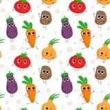 Милая безшовная картина с счастливыми овощами Стоковые Фото