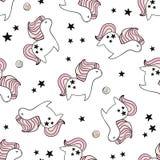 Милая безшовная картина с fairy единорогами и donuts Ребяческая текстура для ткани, ткани Скандинавский тип бесплатная иллюстрация