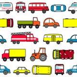 Милая безшовная предпосылка с автомобилями шаржа Картина перехода Стоковое Фото