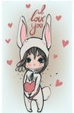 Милая белая девушка зайчика - иллюстрация вектора Стоковое Изображение